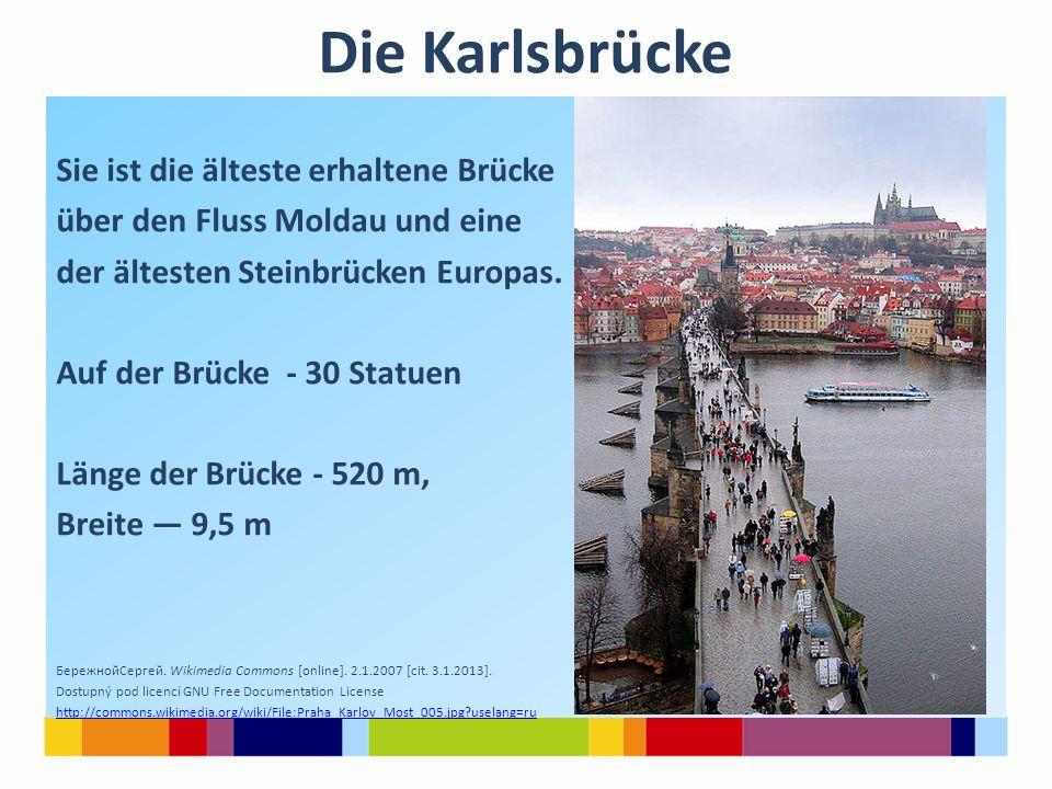 Die Karlsbrücke Sie ist die älteste erhaltene Brücke über den Fluss Moldau und eine der ältesten Steinbrücken Europas.
