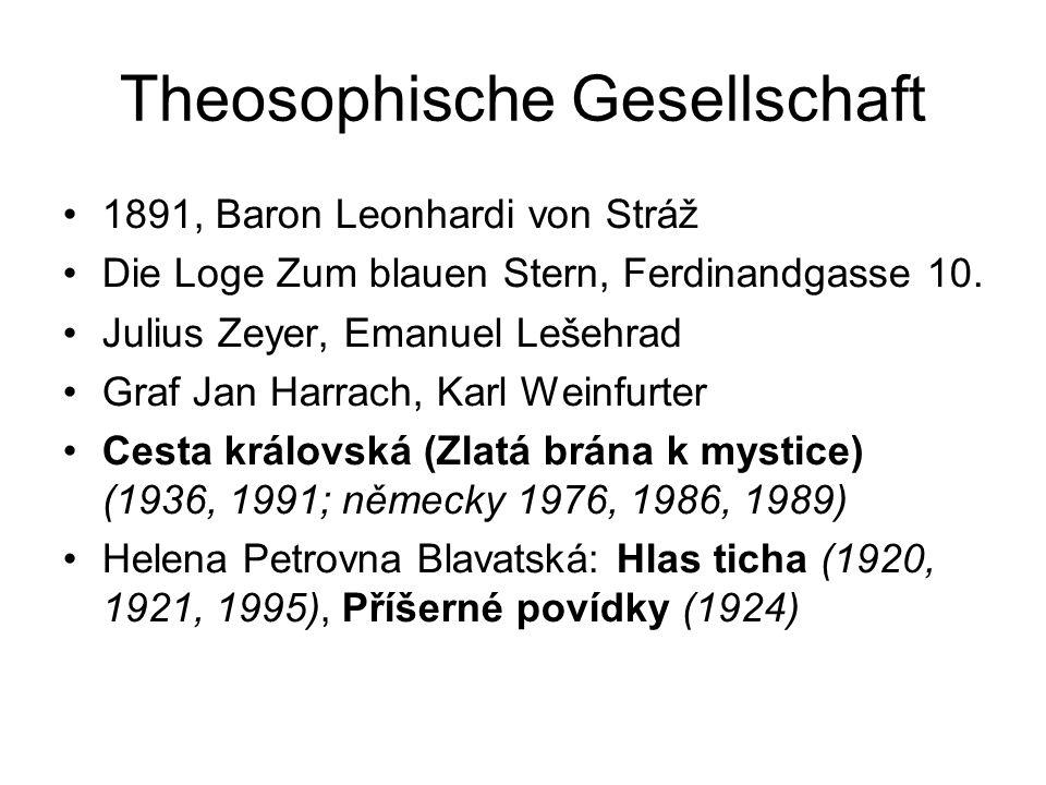 Theosophische Gesellschaft 1891, Baron Leonhardi von Stráž Die Loge Zum blauen Stern, Ferdinandgasse 10.