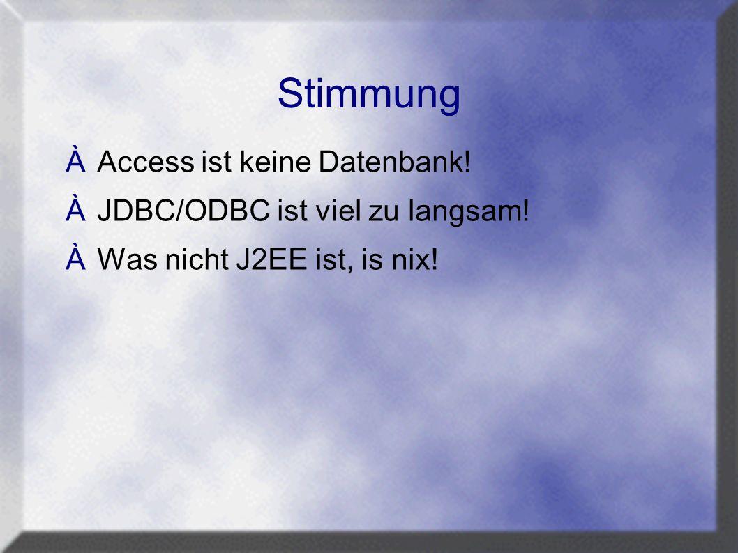 Stimmung ÀAccess ist keine Datenbank! ÀJDBC/ODBC ist viel zu langsam! ÀWas nicht J2EE ist, is nix!