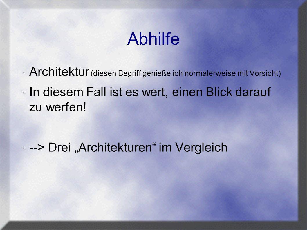 Abhilfe Architektur (diesen Begriff genieße ich normalerweise mit Vorsicht) In diesem Fall ist es wert, einen Blick darauf zu werfen.