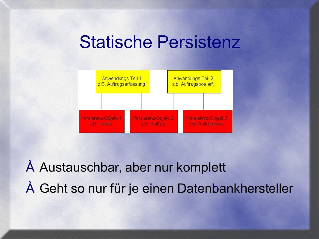 Statische Persistenz ÀAustauschbar, aber nur komplett ÀGeht so nur für je einen Datenbankhersteller