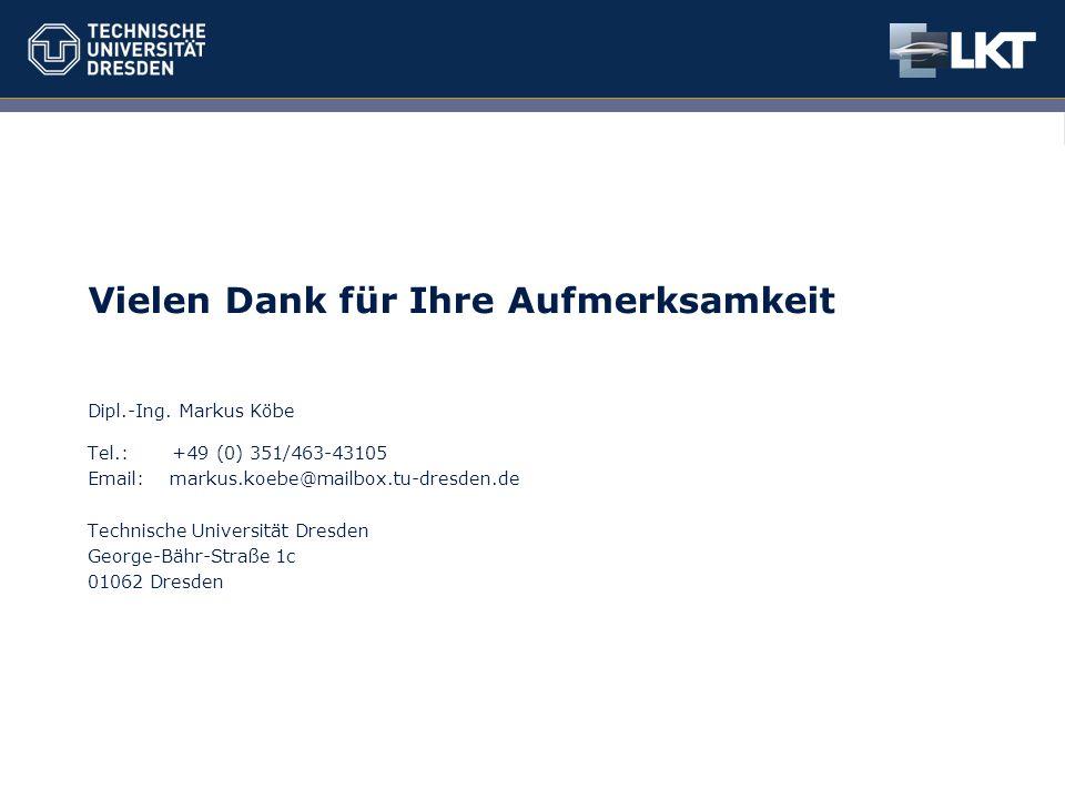Dresden, den 09.10.2014 Kurztitel – Max Mustermann15 Vielen Dank für Ihre Aufmerksamkeit Dipl.-Ing. Markus Köbe Tel.: +49 (0) 351/463-43105 Email: mar