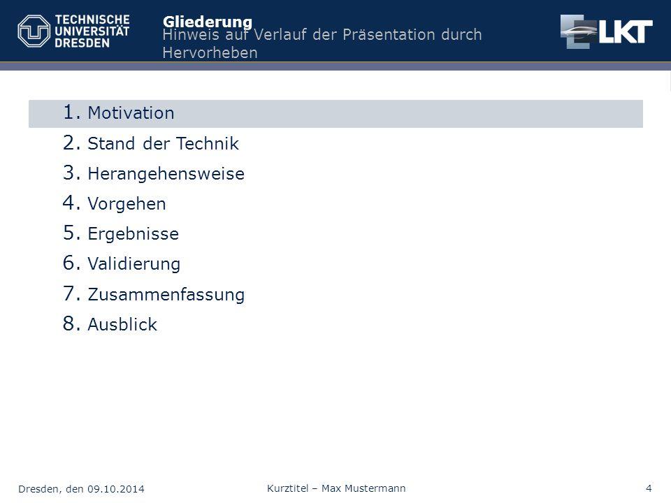 Dresden, den 09.10.2014 Kurztitel – Max Mustermann4 Gliederung Hinweis auf Verlauf der Präsentation durch Hervorheben 1. Motivation 2. Stand der Techn