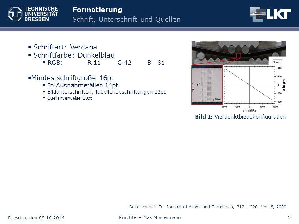 Dresden, den 09.10.2014 Kurztitel – Max Mustermann5 Formatierung Schrift, Unterschrift und Quellen  Schriftart: Verdana  Schriftfarbe: Dunkelblau 