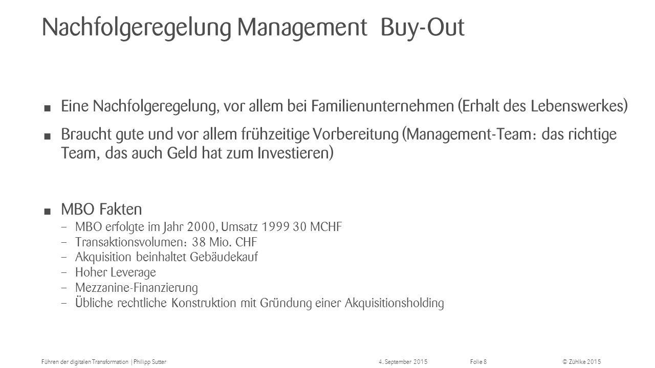 © Zühlke 2015 Nachfolgeregelung Management Buy-Out Eine Nachfolgeregelung, vor allem bei Familienunternehmen (Erhalt des Lebenswerkes) Braucht gute und vor allem frühzeitige Vorbereitung (Management-Team: das richtige Team, das auch Geld hat zum Investieren) MBO Fakten – MBO erfolgte im Jahr 2000, Umsatz 1999 30 MCHF – Transaktionsvolumen: 38 Mio.