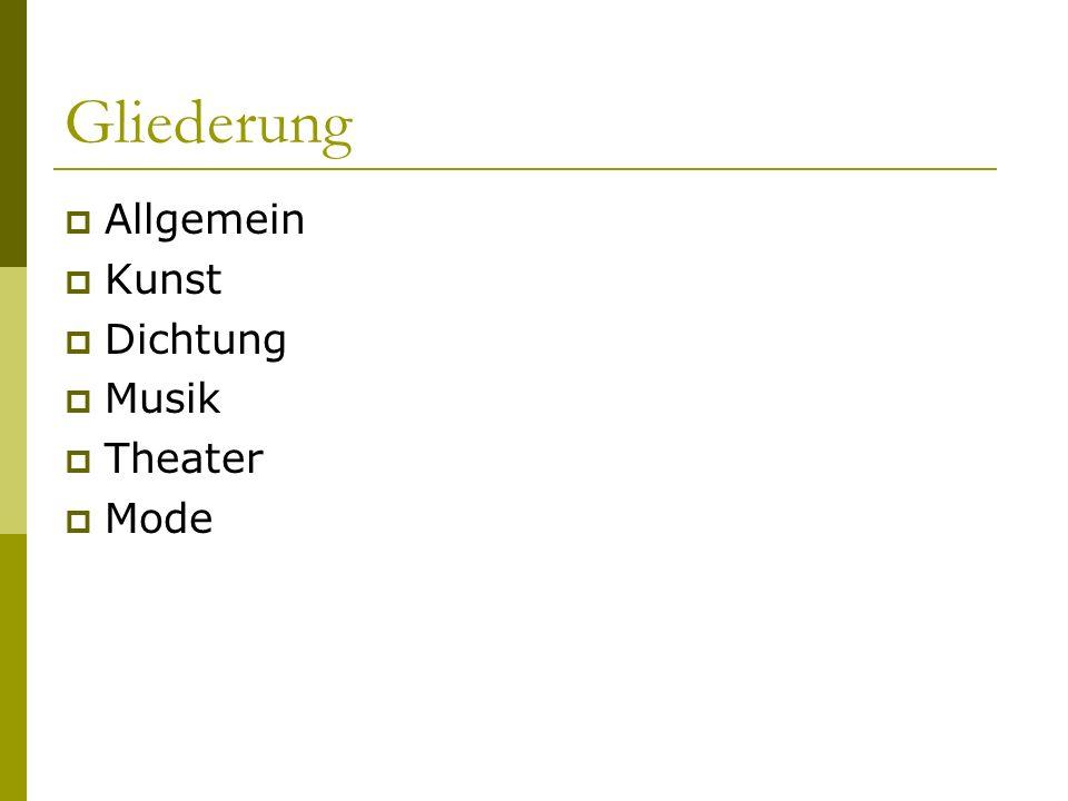 Allgemein  zw.Renaissance und Klassizismus  Frühbarock (ca.