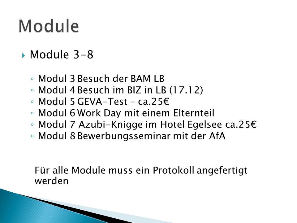  Module 3-8 ◦ Modul 3Besuch der BAM LB ◦ Modul 4Besuch im BIZ in LB (17.12) ◦ Modul 5GEVA-Test – ca.25€ ◦ Modul 6Work Day mit einem Elternteil ◦ Modul 7 Azubi-Knigge im Hotel Egelsee ca.25€ ◦ Modul 8Bewerbungsseminar mit der AfA Für alle Module muss ein Protokoll angefertigt werden