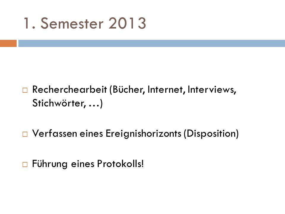 1. Semester 2013  Recherchearbeit (Bücher, Internet, Interviews, Stichwörter, …)  Verfassen eines Ereignishorizonts (Disposition)  Führung eines Pr