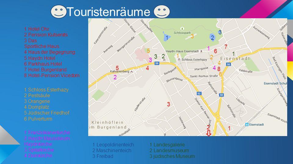 Touristenräume 1 1 Franziskanerkirche 2 Haydn Mausoleum Haydnkirche 3 Spitalkirche 4 Domkirche 2 3 6 12 3 8 1 1 Hotel Ohr 2 Pension Kutsenits 3 Das Sp