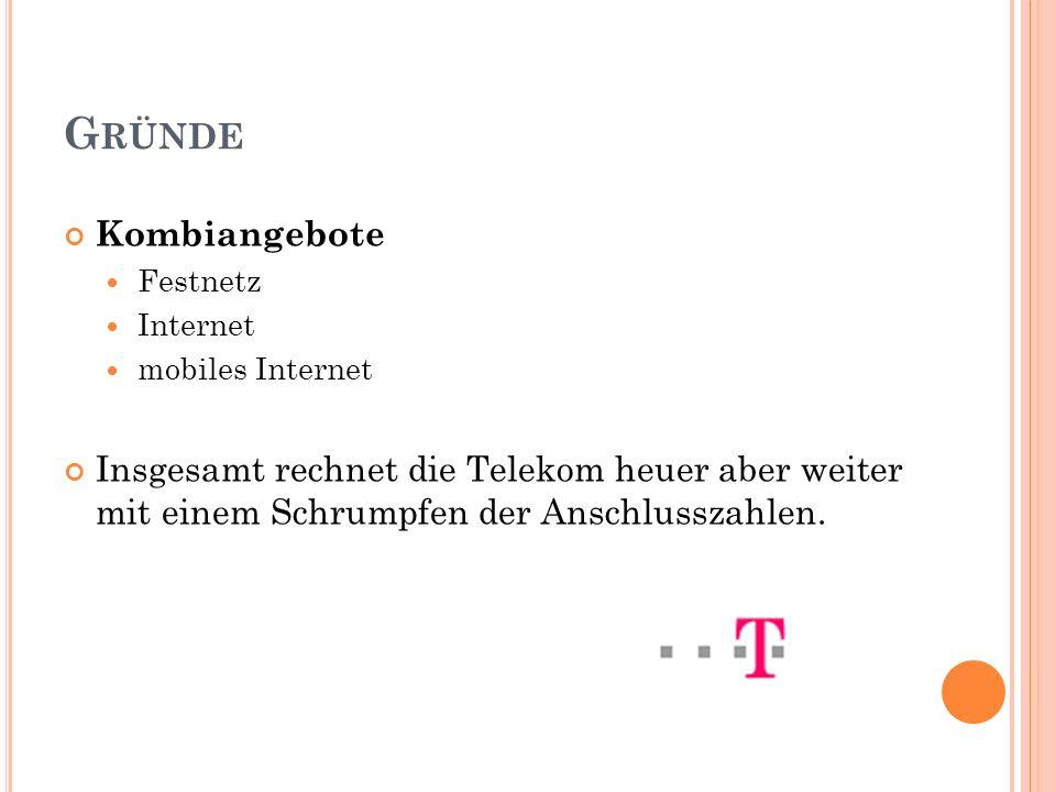 G RÜNDE Kombiangebote Festnetz Internet mobiles Internet Insgesamt rechnet die Telekom heuer aber weiter mit einem Schrumpfen der Anschlusszahlen.