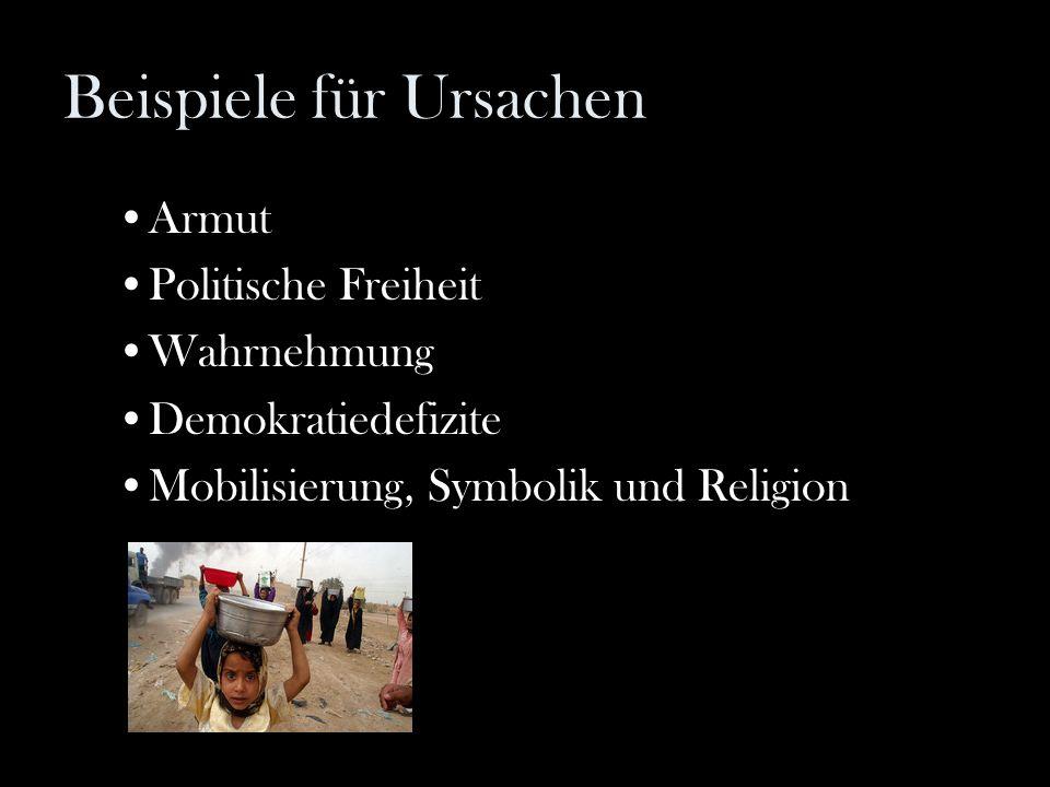 Beispiele für Ursachen Armut Politische Freiheit Wahrnehmung Demokratiedefizite Mobilisierung, Symbolik und Religion