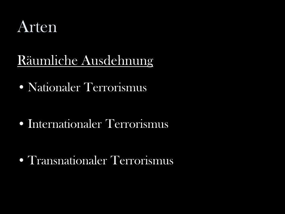 Arten Räumliche Ausdehnung Nationaler Terrorismus Internationaler Terrorismus Transnationaler Terrorismus