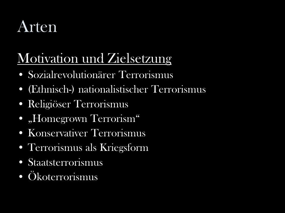 """Arten Motivation und Zielsetzung Sozialrevolutionärer Terrorismus (Ethnisch-) nationalistischer Terrorismus Religiöser Terrorismus """"Homegrown Terroris"""