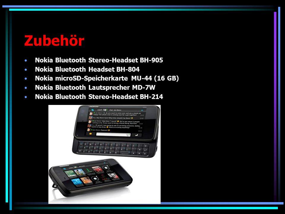 Zubehör Nokia Bluetooth Stereo-Headset BH-905 Nokia Bluetooth Headset BH-804 Nokia microSD-Speicherkarte MU-44 (16 GB) Nokia Bluetooth Lautsprecher MD-7W Nokia Bluetooth Stereo-Headset BH-214