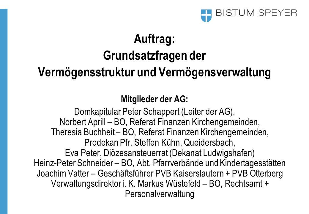 Auftrag: Grundsatzfragen der Vermögensstruktur und Vermögensverwaltung Mitglieder der AG: Domkapitular Peter Schappert (Leiter der AG), Norbert Aprill