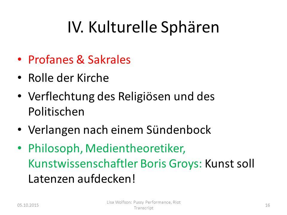 IV. Kulturelle Sphären Profanes & Sakrales Rolle der Kirche Verflechtung des Religiösen und des Politischen Verlangen nach einem Sündenbock Philosoph,