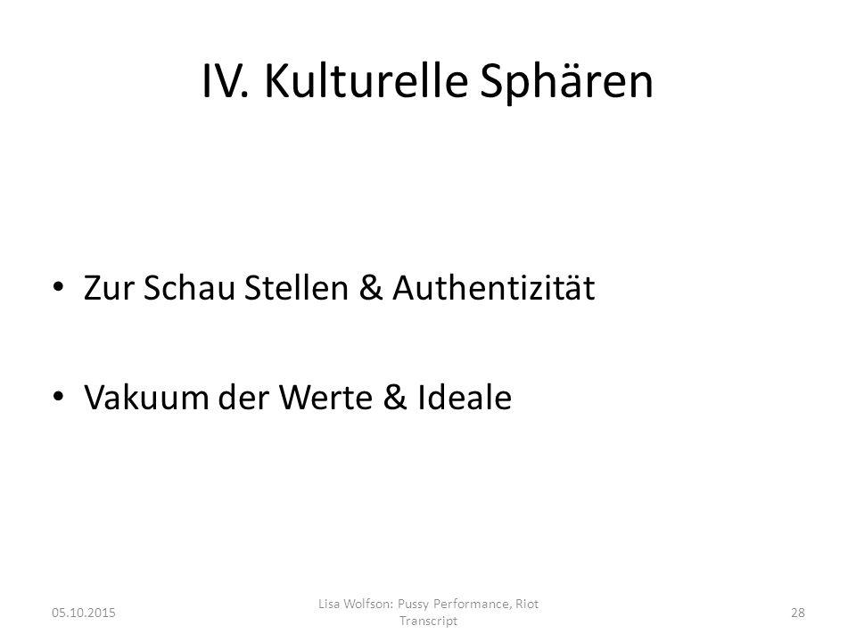 IV. Kulturelle Sphären Zur Schau Stellen & Authentizität Vakuum der Werte & Ideale 05.10.2015 Lisa Wolfson: Pussy Performance, Riot Transcript 28