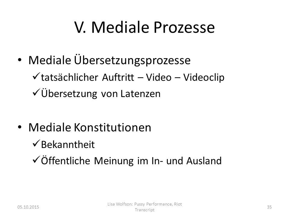 V. Mediale Prozesse Mediale Übersetzungsprozesse tatsächlicher Auftritt – Video – Videoclip Übersetzung von Latenzen Mediale Konstitutionen Bekannthei