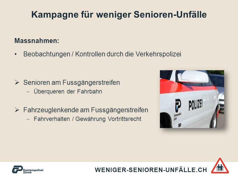 Kampagne für weniger Senioren-Unfälle Massnahmen: Beobachtungen / Kontrollen durch die Verkehrspolizei  Senioren am Fussgängerstreifen  Überqueren d