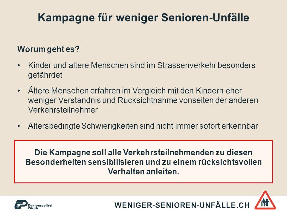 Kampagne für weniger Senioren-Unfälle WENIGER-SENIOREN-UNFÄLLE.CH