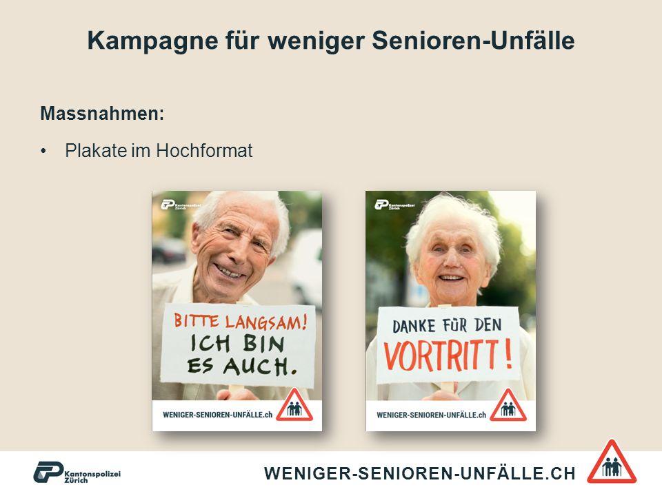 Kampagne für weniger Senioren-Unfälle Massnahmen: Flyer mit praktischen Tipps für mehr Sicherheit im Strassenverkehr WENIGER-SENIOREN-UNFÄLLE.CH