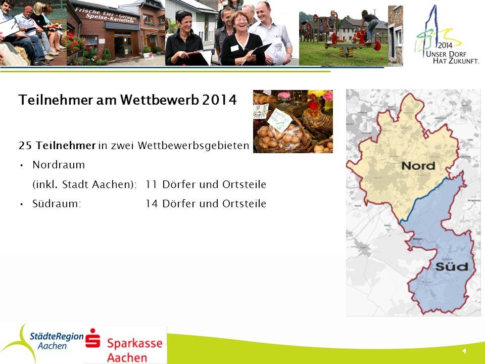 Teilnehmer am Wettbewerb 2014 25 Teilnehmer in zwei Wettbewerbsgebieten Nordraum (inkl. Stadt Aachen): 11 Dörfer und Ortsteile Südraum: 14 Dörfer und