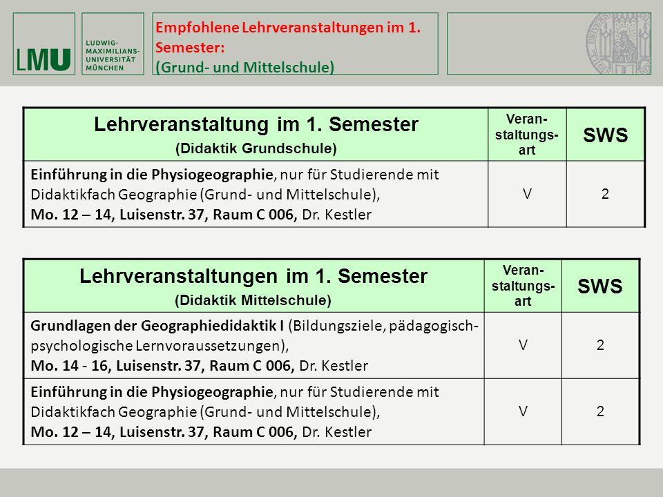 Empfohlene Lehrveranstaltungen im 1.Semester: (Grund- und Mittelschule) Lehrveranstaltung im 1.