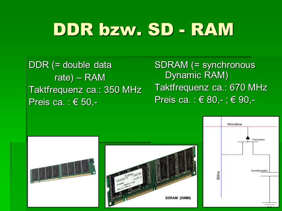 DDR bzw.SD - RAM DDR (= double data rate) – RAM rate) – RAM Taktfrequenz ca.: 350 MHz Preis ca.