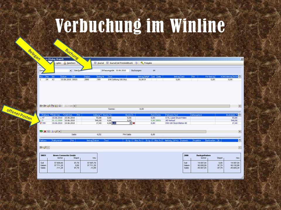 Verbuchung im Winline offener Posten Buchung Belegart