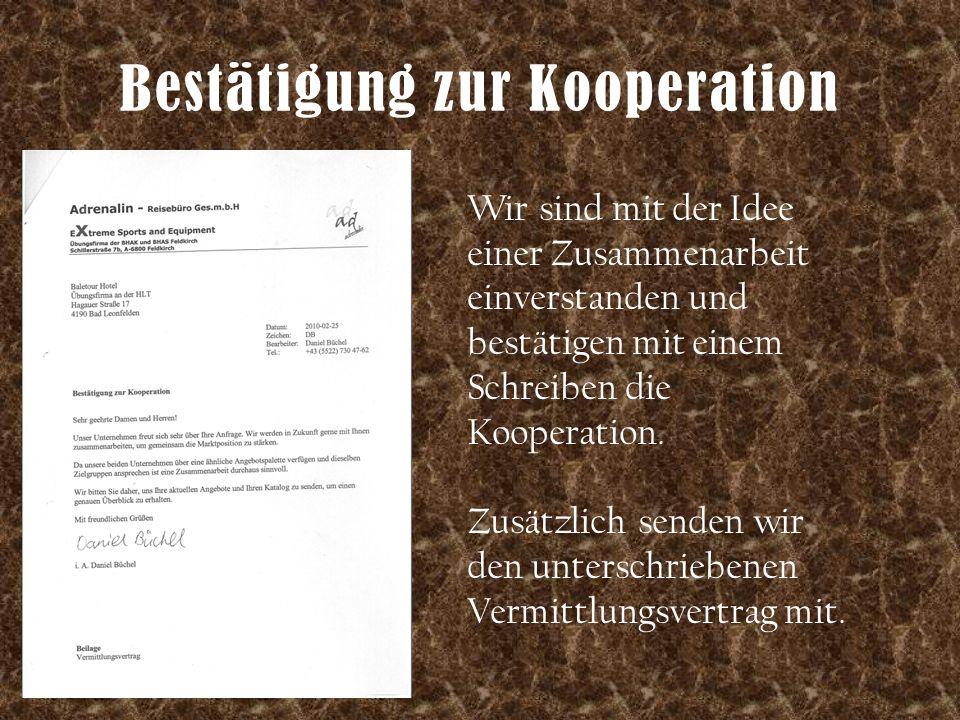Bestätigung zur Kooperation Wir sind mit der Idee einer Zusammenarbeit einverstanden und bestätigen mit einem Schreiben die Kooperation. Zusätzlich se