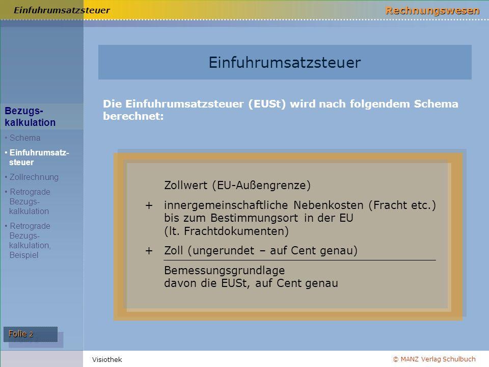 © MANZ Verlag Schulbuch Rechnungswesen Folie 2 Visiothek Einfuhrumsatzsteuer Die Einfuhrumsatzsteuer (EUSt) wird nach folgendem Schema berechnet: Einf