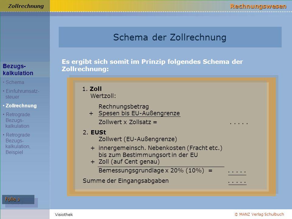 © MANZ Verlag Schulbuch Rechnungswesen Folie 3 Visiothek Zollrechnung Es ergibt sich somit im Prinzip folgendes Schema der Zollrechnung: 1. Zoll Wertz