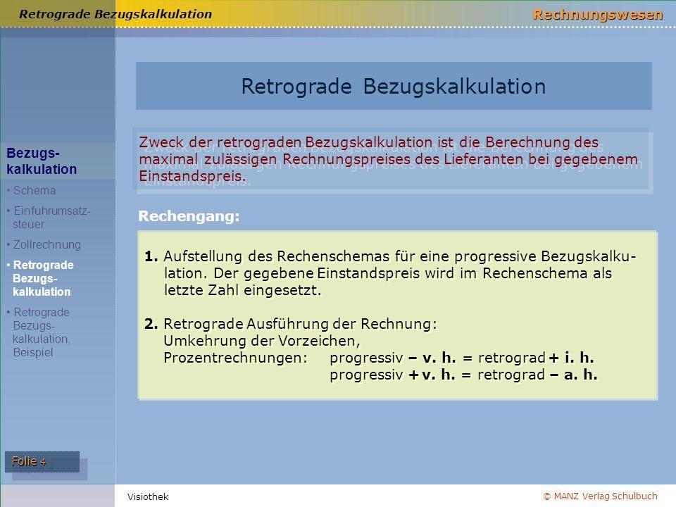 © MANZ Verlag Schulbuch Rechnungswesen Folie 4 Visiothek Retrograde Bezugskalkulation Bezugs- kalkulation Schema Einfuhrumsatz- steuer Zollrechnung Re