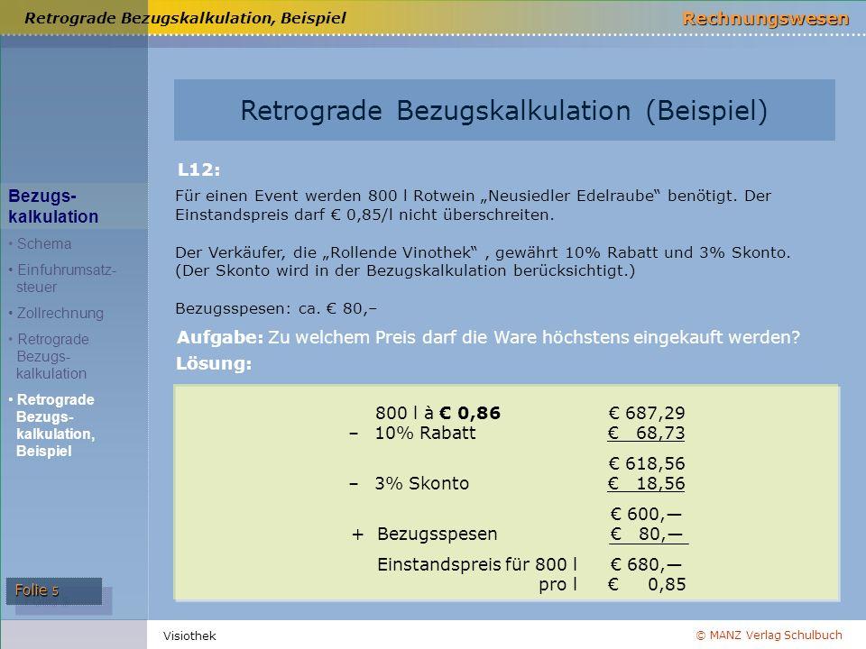 © MANZ Verlag Schulbuch Rechnungswesen Folie 5 Visiothek Retrograde Bezugskalkulation, Beispiel Retrograde Bezugskalkulation (Beispiel) Bezugs- kalkul