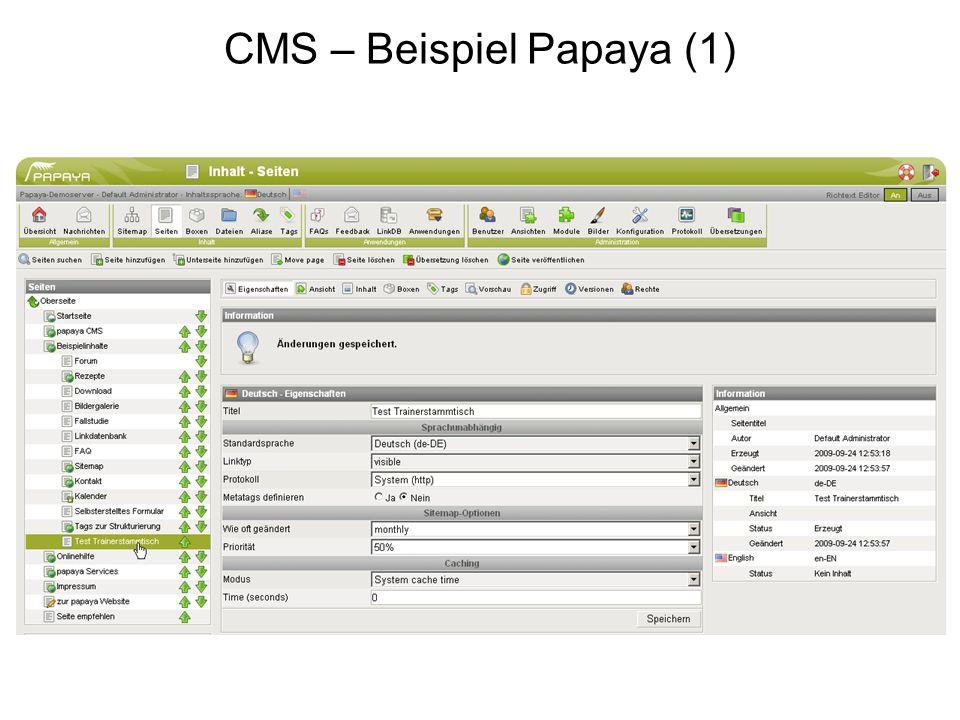 CMS – Beispiel Papaya (1)