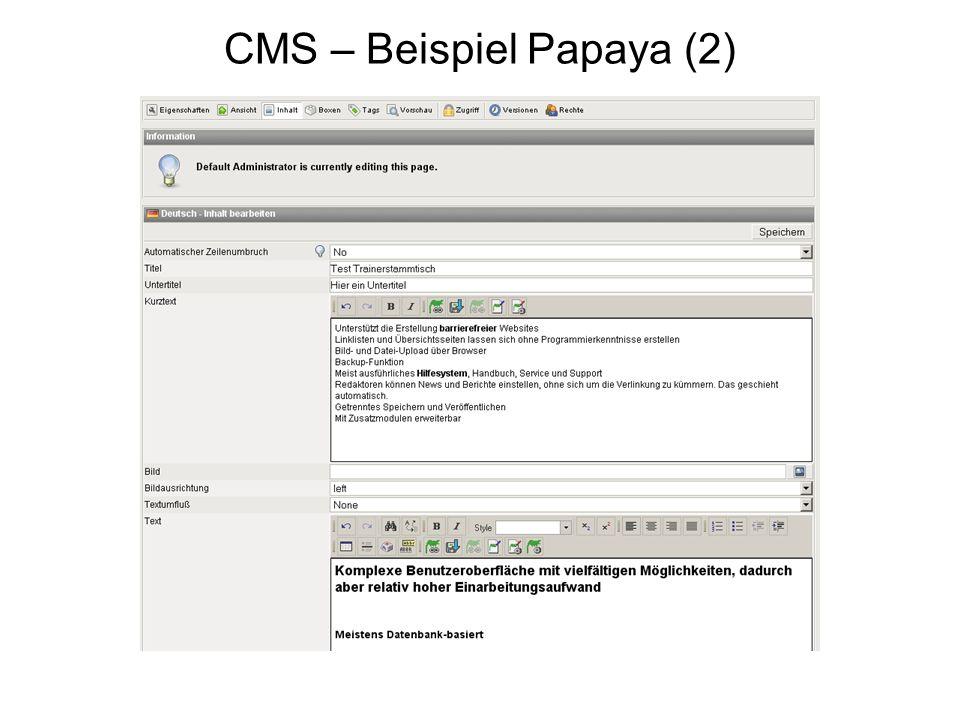 CMS – Beispiel Papaya (2)