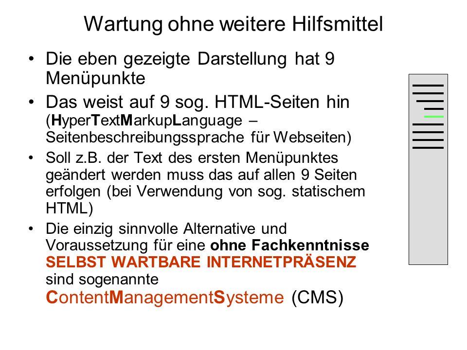 Wartung ohne weitere Hilfsmittel Die eben gezeigte Darstellung hat 9 Menüpunkte Das weist auf 9 sog. HTML-Seiten hin (HyperTextMarkupLanguage – Seiten