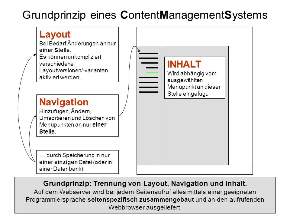 Navigation Hinzufügen, Ändern, Umsortieren und Löschen von Menüpunkten an nur einer Stelle. Grundprinzip eines ContentManagementSystems Grundprinzip: