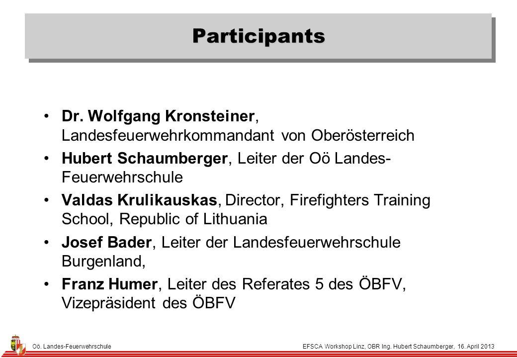 Oö. Landes-Feuerwehrschule EFSCA Workshop Linz, OBR Ing.