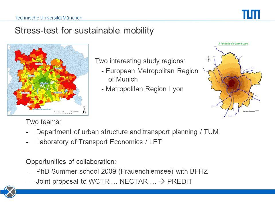 Technische Universität München Stress-test for sustainable mobility Two interesting study regions: - European Metropolitan Region of Munich - Metropol