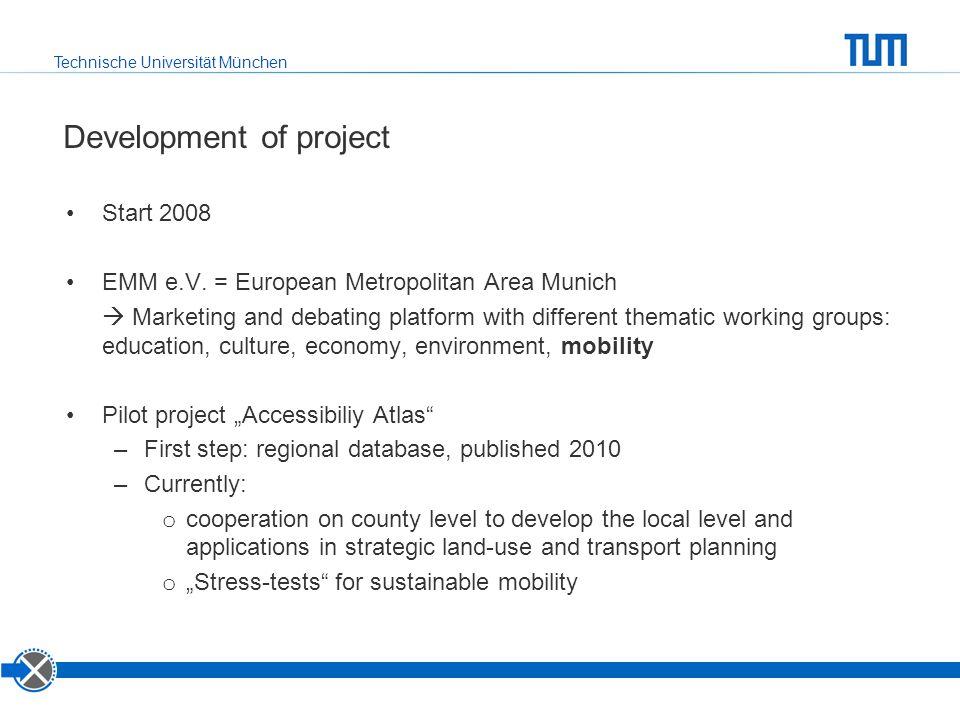 Technische Universität München Development of project Start 2008 EMM e.V. = European Metropolitan Area Munich  Marketing and debating platform with d