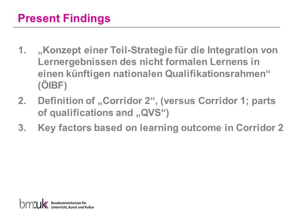"""Present Findings 1.""""Konzept einer Teil-Strategie für die Integration von Lernergebnissen des nicht formalen Lernens in einen künftigen nationalen Qualifikationsrahmen (ÖIBF) 2.Definition of """"Corridor 2 , (versus Corridor 1; parts of qualifications and """"QVS ) 3.Key factors based on learning outcome in Corridor 2"""