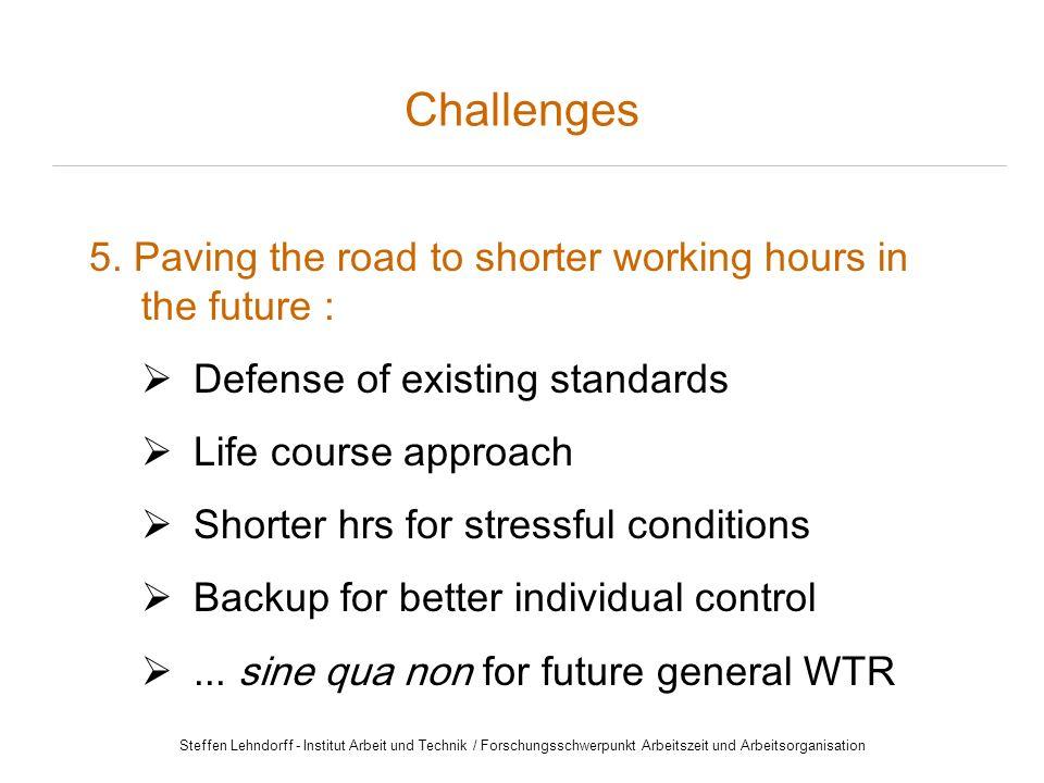 Steffen Lehndorff - Institut Arbeit und Technik / Forschungsschwerpunkt Arbeitszeit und Arbeitsorganisation Challenges 5.