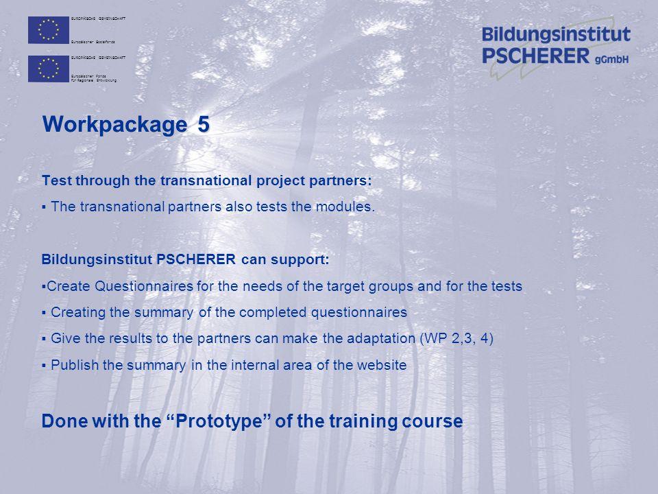 EUROPÄISCHE GEMEINSCHAFT Europäischer Sozialfonds EUROPÄISCHE GEMEINSCHAFT Europäischer Fonds für Regionale Entwicklung Workpackage 5 Test through the transnational project partners:  The transnational partners also tests the modules.
