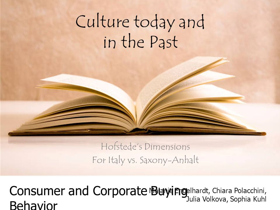 Culture today and in the Past Hofstede's Dimensions For Italy vs.