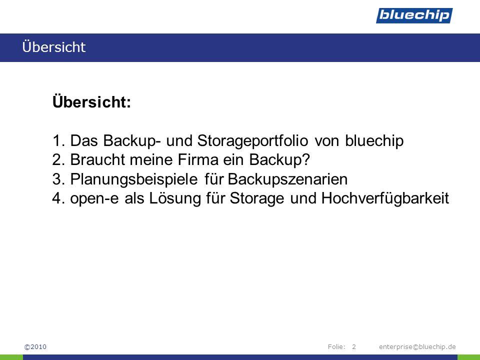 Folie:enterprise©bluechip.de2 Übersicht Übersicht: 1.Das Backup- und Storageportfolio von bluechip 2.Braucht meine Firma ein Backup? 3.Planungsbeispie
