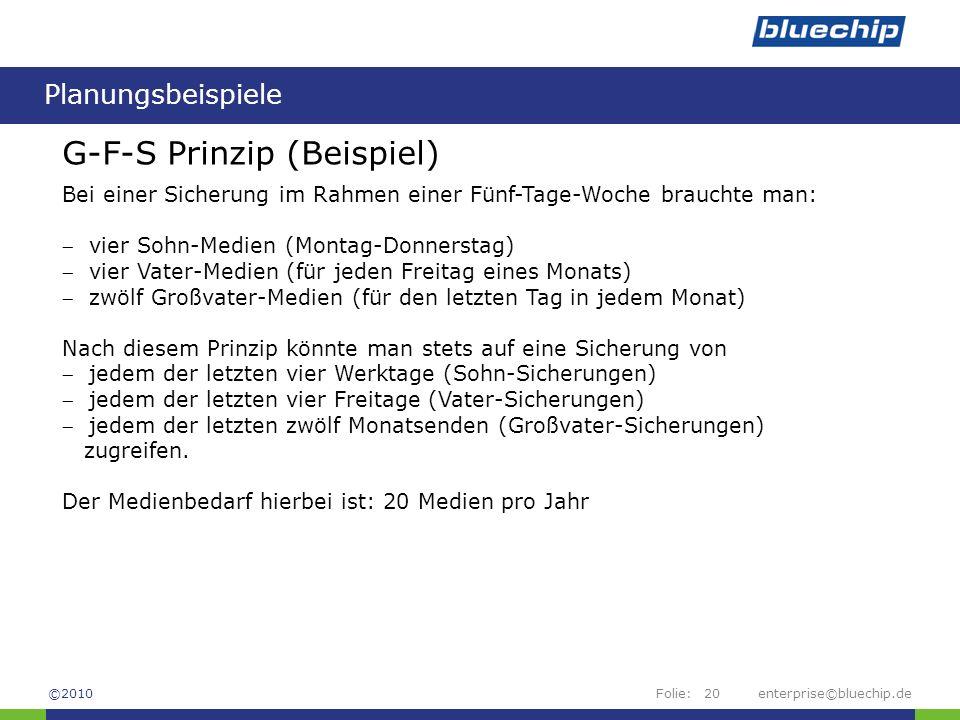 Folie:enterprise©bluechip.de20 Planungsbeispiele ©2010 G-F-S Prinzip (Beispiel) Bei einer Sicherung im Rahmen einer Fünf-Tage-Woche brauchte man:  vi
