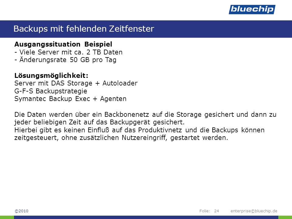 Folie:enterprise©bluechip.de24 Backups mit fehlenden Zeitfenster ©2010 Ausgangssituation Beispiel - Viele Server mit ca. 2 TB Daten - Änderungsrate 50