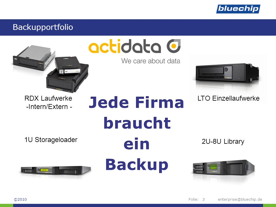 Folie: Backupportfolio enterprise@bluechip.de3 RDX Laufwerke -Intern/Extern - LTO Einzellaufwerke 1U Storageloader 2U-8U Library ©2010