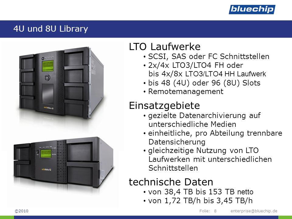 Folie: 4U und 8U Library enterprise@bluechip.de8 LTO Laufwerke SCSI, SAS oder FC Schnittstellen 2x/4x LTO3/LTO4 FH oder bis 4x/8x LTO3/LTO4 HH Laufwer